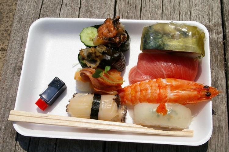 Sushis, marché Karato Ichiba, Shimonoseki