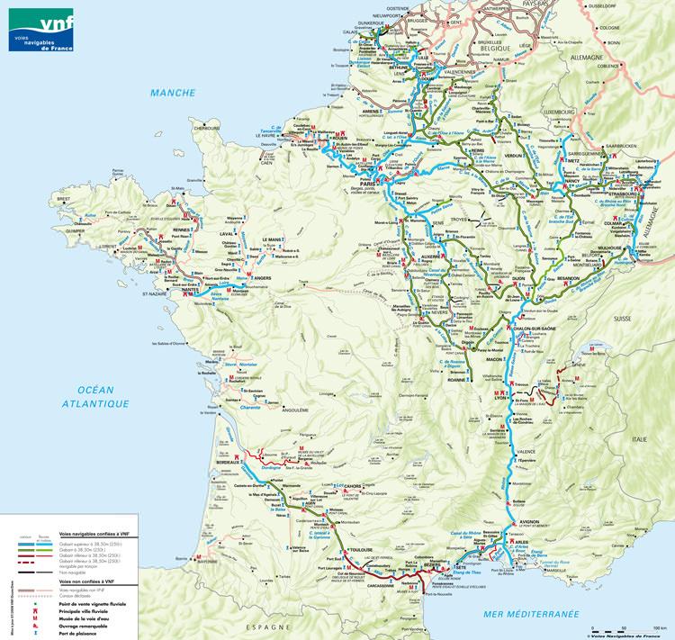 Carte des voies navigables