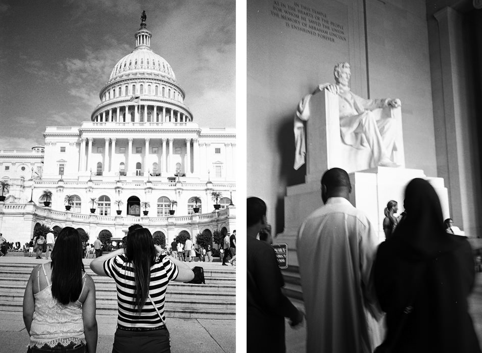 Road trip USA, Washington Capitole, Lincoln Memorial, noir & blanc argentique