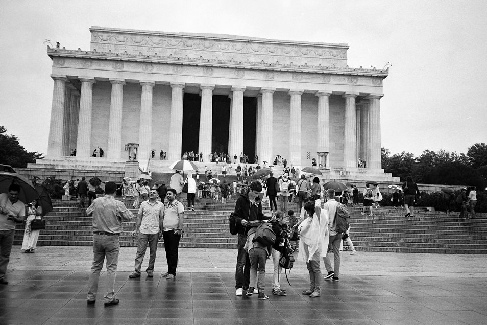 Road trip USA, Washington Lincoln Memorial, noir & blanc argentique