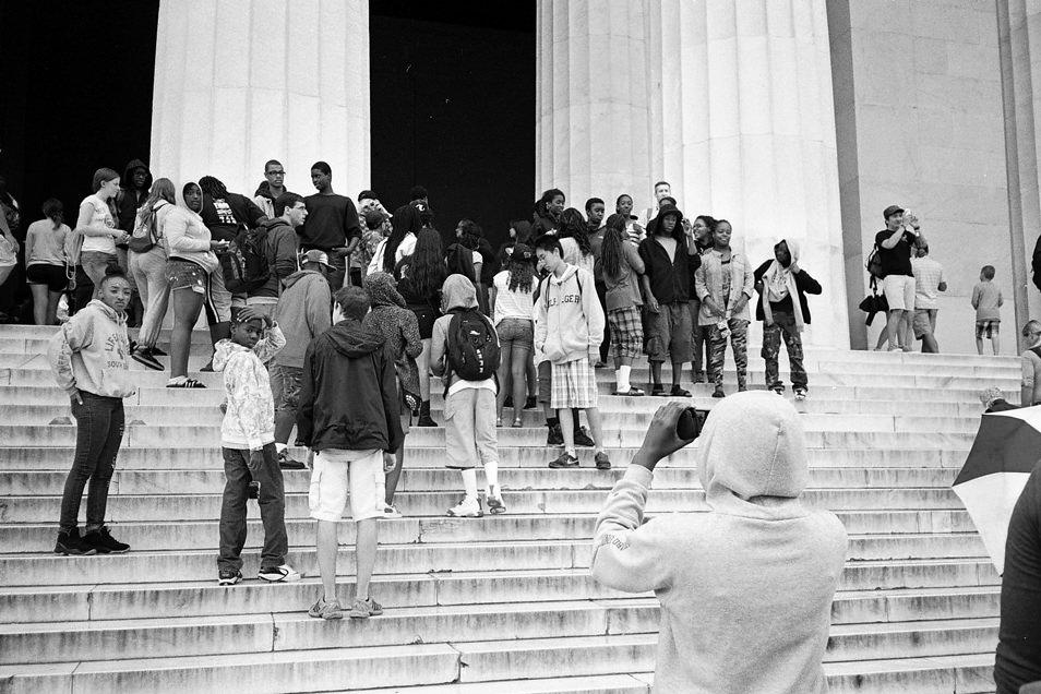 Road trip USA, Washington Capitole, Lincoln Memorial, noir & blanc argentique