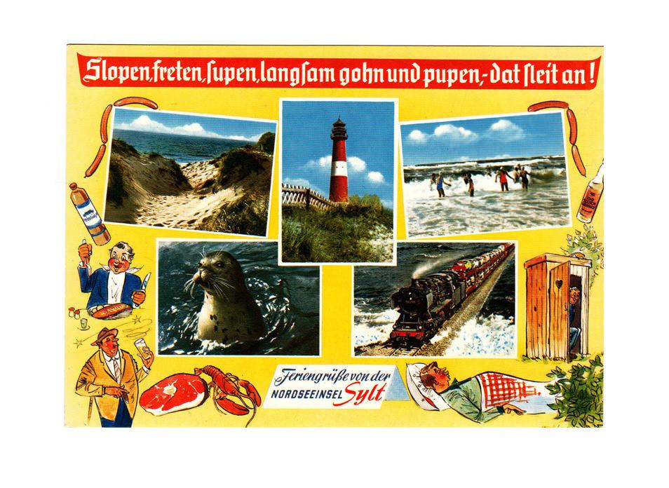 Carte postale Sylt, mer des Wadden