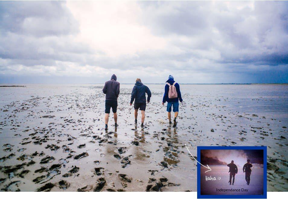 Dans la boue, Sylt, mer des Wadden