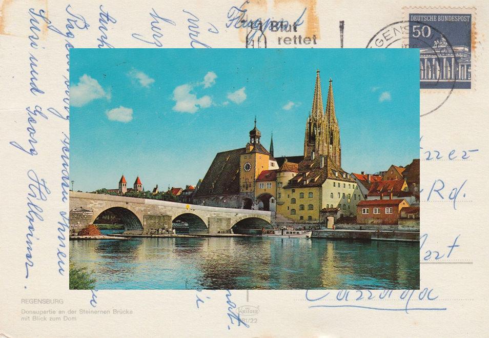 Baviere, carte postale Ratisbonne