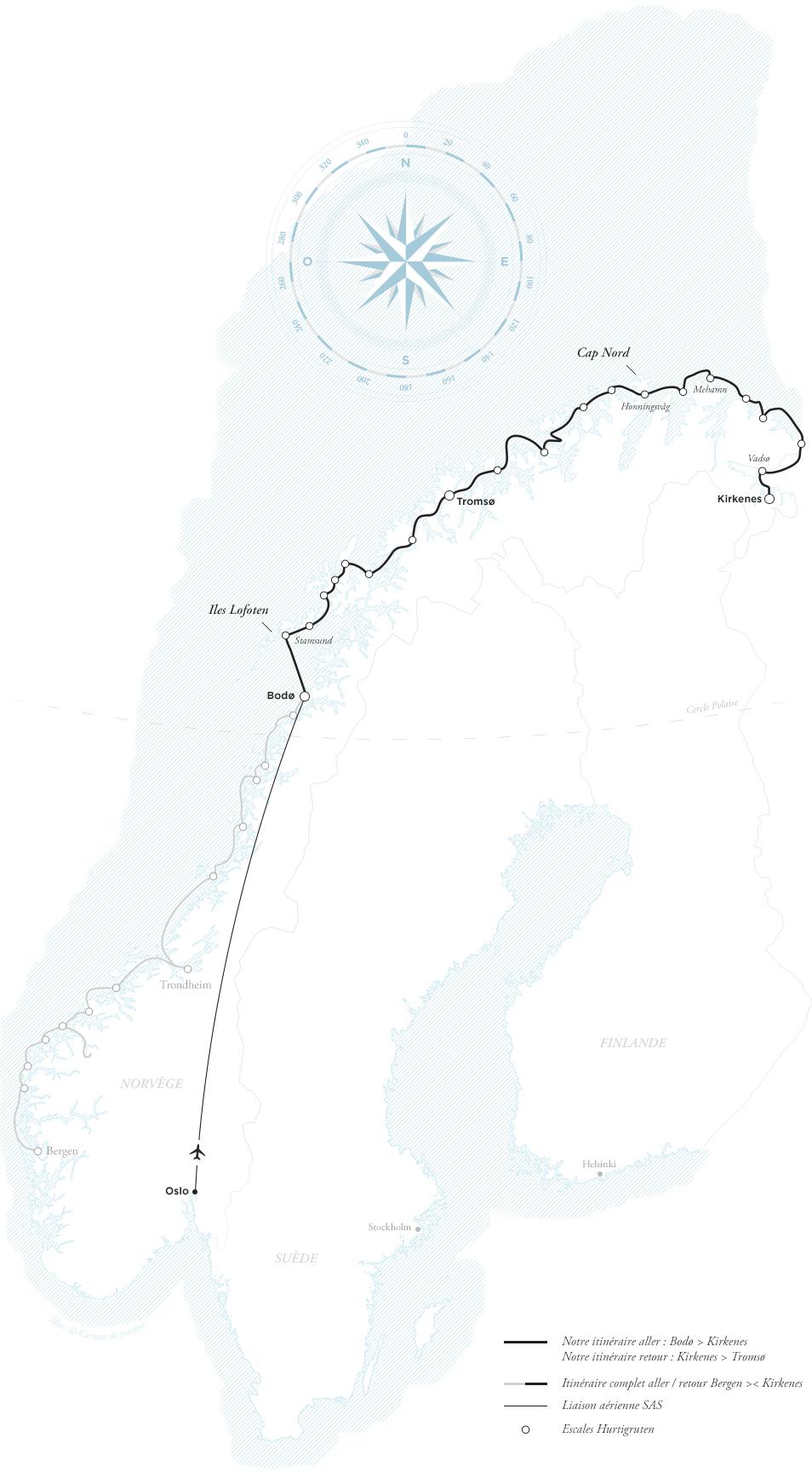 Carte et Itinéraire de Norvège. Croisière Hurtigruten