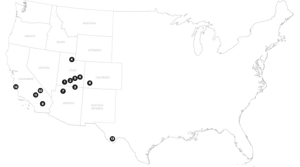 Road trip dans l'Ouest Americain - Carte