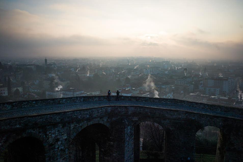 Visiter Bergame : lever du soleil