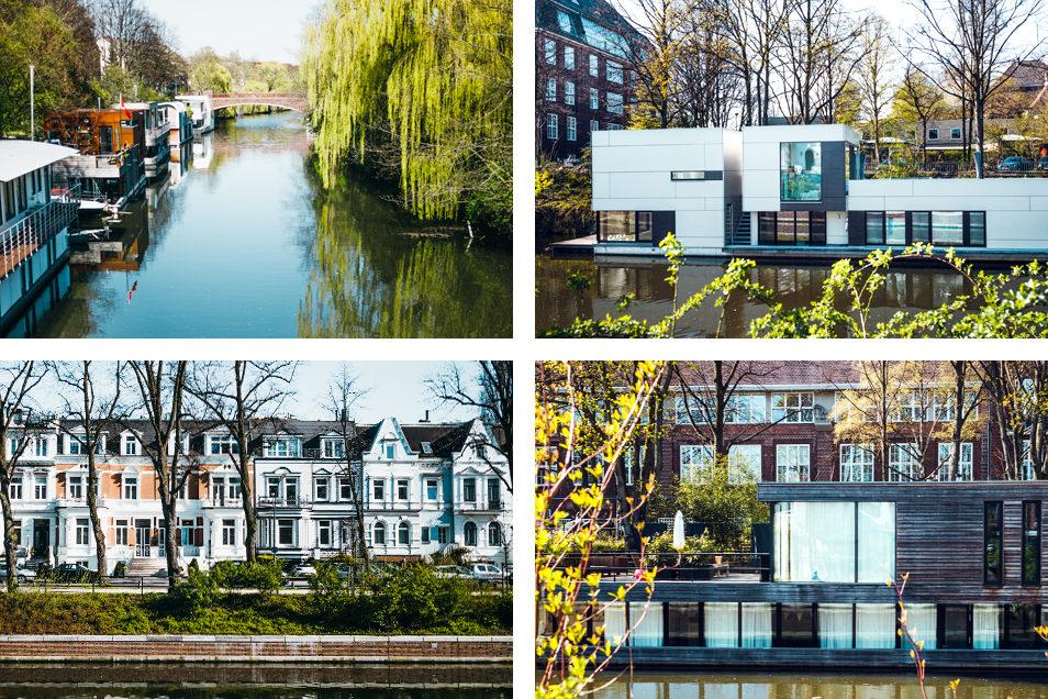 Visiter Hambourg : les péniches design du Eilbek Kanal