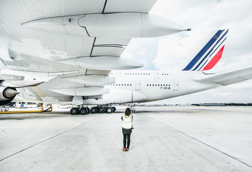 On a march sous un a380 reportage photo air france for Interieur d avion air france