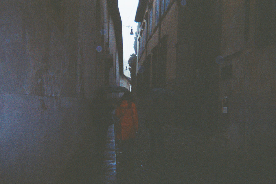 Bergame : photo de voyage argentique, appareil jetable