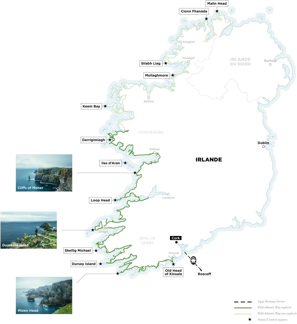 Carte Wild Atlantic Way - Road trip Irlande