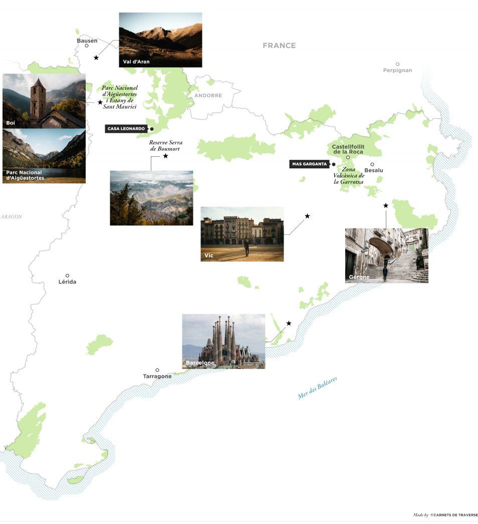 Carte Pyrenees catalanes - Catalogne, Espagne