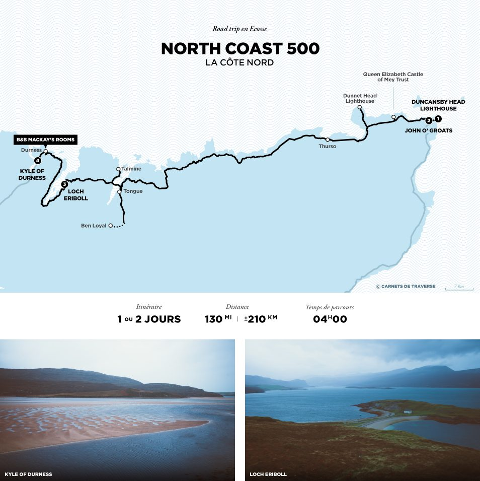 Carte de la North Coast 500 - Road trip Ecosse