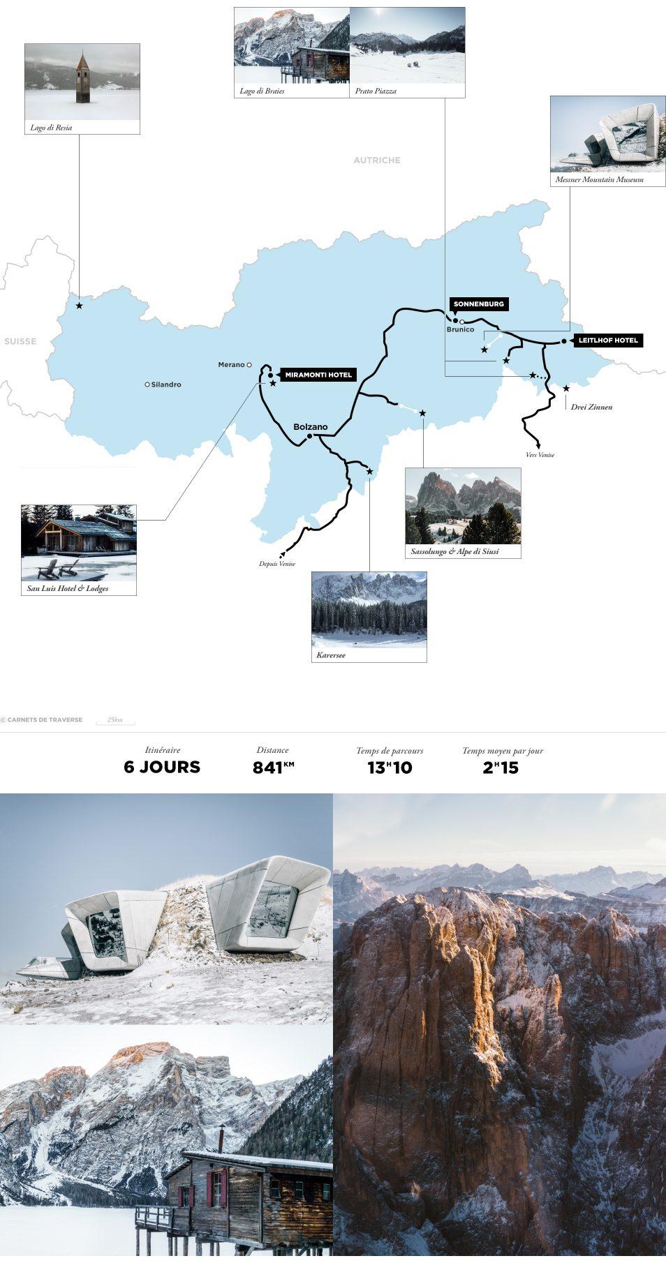 Dolomites - Road trip en Italie - Carte itinéraire
