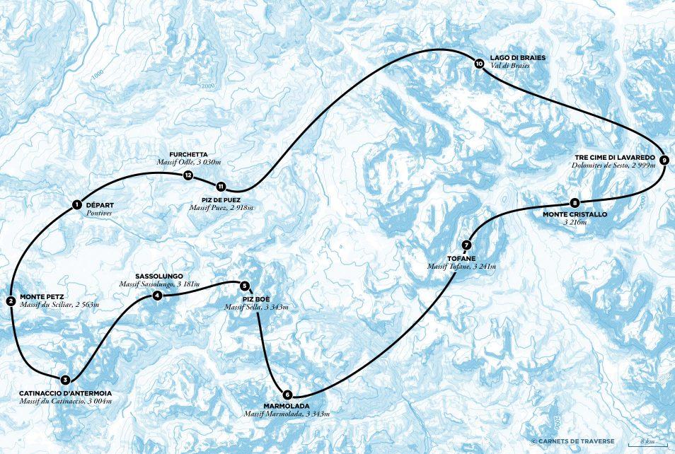 Dolomites Road Trip Italie Carte Vol Helicoptere Trajet